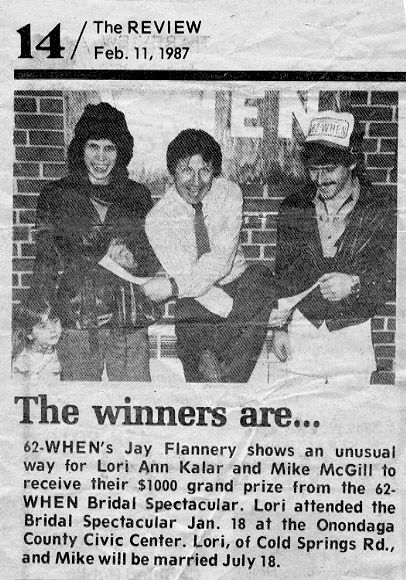 WHEN Radio Bridal Show Grand Prize Winners in 1987 With Air Personality Jay Flannery