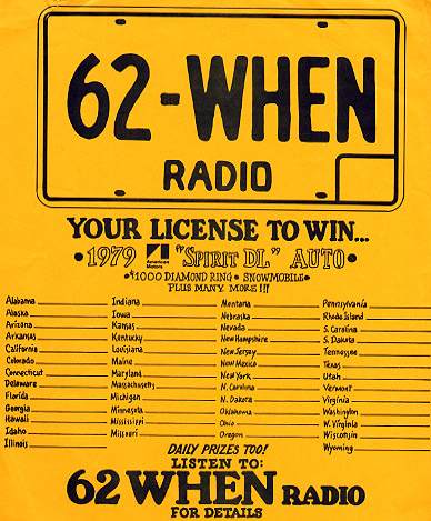 62 WHEN Radio License to Win Entry Blank
