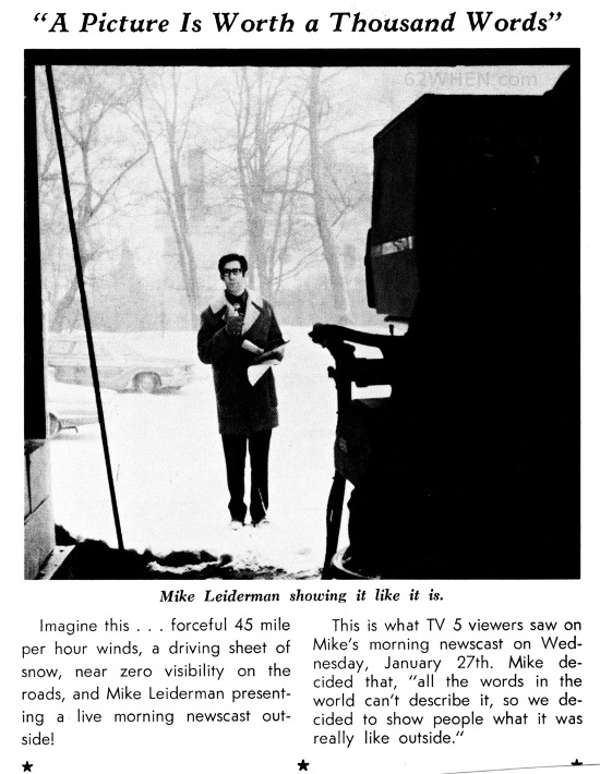 Mike Leiderman - 62 WHEN Newsman Reporting On A 1971 Syracuse Snow Storm