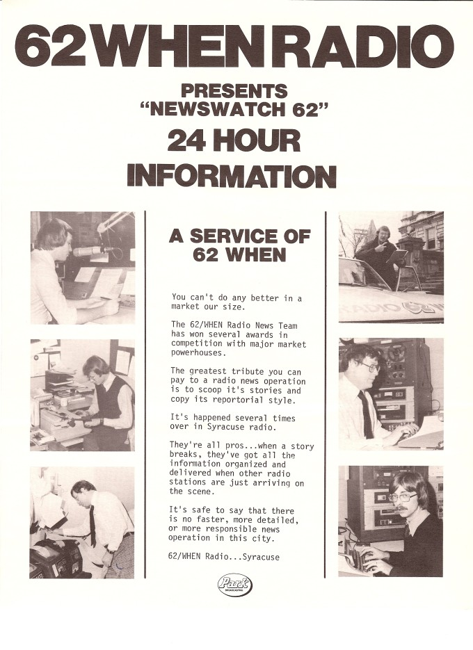 Newswatch 62 Is a 24 Hour Service of WHEN - Syracuse, NY radio circa 1978